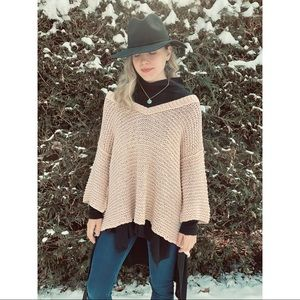 FREE PEOPLE chunky knit vneck pink flowy top